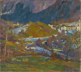 Giovanni Giacometti, Märzlandschaft im Bergell, um 1925, Öl auf Leinwand, Museum zu Allerheiligen, Schenkung Kaspar und Anita Ilg, Foto Jürg Fausch