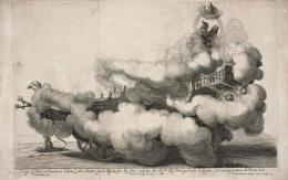 Der Wettstreit von Luft und Wasser Die Luft, Festwagen, Wiener Rossballett, 1667, Kupferstich von Gerard Bouttats nach Nikolaus van Hoy Theatermuseum © KHM-Museumsverband