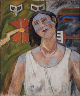 Michail Larionow, Portrait Natalja Gontscharowa, 1907, V. Tsarenkov loan to Kunstmuseum Liechtenstein, Vaduz © 2021, ProLitteris, Zürich