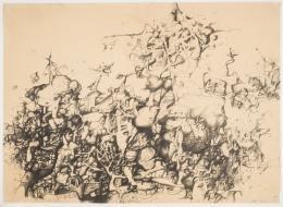 Maria Lassnig, Automatische Phantastik, 1951, Lithografie auf Papier, 70,8 x 100,6 x 2,5 cm, Courtesy Kunstsammlung des Landes Kärnten / MMKK, Foto: F. Neumüller, © Maria Lassnig Stiftung