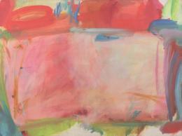 Maria Lassnig, Komposition in Rosa, 1960, Öl auf Leinwand, 90 x 120 cm, Courtesy Kunstsammlung des Landes Kärnten / MMKK, Foto: F. Neumüller © Maria Lassnig Stiftung
