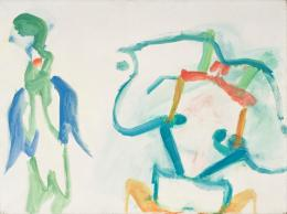 Maria Lassnig, Zwei Arten zu sein, 1962/63, Öl auf Leinwand, 90 x 120 cm, Courtesy Kunstsammlung des Landes Kärnten / MMKK, Foto: F. Neumüller © Maria Lassnig Stiftung