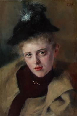 Wilhelm Leibl, Bildnis der Frau Apotheker Rieder, 1893 Öl auf Holz, 35 x 24 cm Museum der bildenden Künste Leipzig