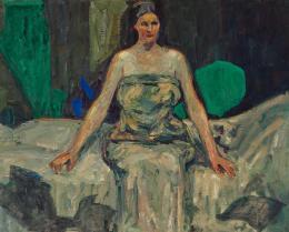 """Adolf Hölzel, """"Sitzende Frau im Simultankontrast"""", 1908  Malerei auf textiilem Bildträger, 67 × 84 cm Leihgabe aus Privatsammlung  © Belvedere, Vienna, Foto: Johannes Stoll"""