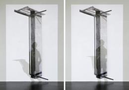 """Liddy Scheffknecht, """"mirage"""", 2018, Videoprojektion auf bedrucktes Holz Installation zu zwei verschiedenen Zeitpunkten, Video (17 min 26 sek), Bild: 240 x 110 cm Foto/Credit: © Liddy Scheffknecht & Bildrecht Wien"""