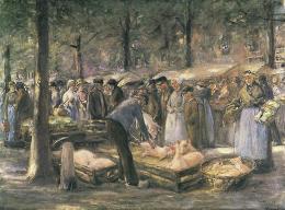 Max Liebermann, Schweinemarkt in Haarlem – 2. Fassung, 1894. Hessisches Landesmuseum Darmstadt, Foto: Wolfgang Fuhrmannek