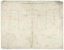 """""""Normal Segelapparat von 13 qm Segelfläche"""": die original Konstruktionszeichnung von Otto Lilienthal. Foto: Deutsches Museum"""