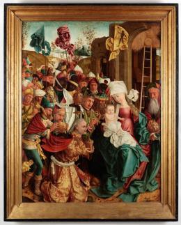 Meister von Mondsee, Anbetung der Heiligen Drei Könige, von den Schreinflügeln des sog. Mondseer Altars, vor 1499 © Oberösterreichisches Landesmuseum, Linz