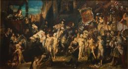 """Hans Makart (1840–1884), """"Der Einzug Karls V. in Antwerpen"""", 1878 Öl auf Leinwand, 520 x 952 cm © Hamburger Kunsthalle / bpk Foto: Elke Walford"""