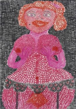 """Maria Rolly, """"Mütter-Zyklus, Nr. 7"""", 1988- 1991, Pastellkreide auf Papier, 93,5x64,5 cm, © Museum im Lagerhaus"""