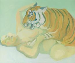 Maria Lassnig Mit einem Tiger schlafen, 1975 Öl auf Leinwand Albertina, Wien – Dauerleihgabe der Oesterreichischen Nationalbank © Maria Lassnig Stiftung