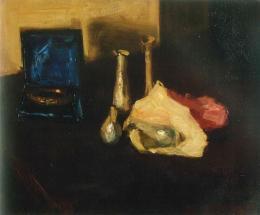 Stillleben mit Goldreif und römischen Gläsern, 1900, Öl auf Leinwand, 44 × 53 cm, GDKE Rheinland-Pfalz, Landesmuseum Mainz, Foto: Ursula Rudischer, Axel Brachat