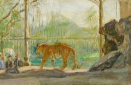 Tiger im Zoo, 1901, Öl auf Leinwand, 44 × 66 cm, Saarlandmuseum, Moderne Galerie, Saarbrücken, Foto: Raphael Maass