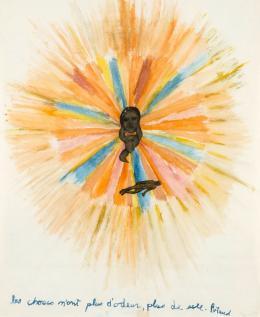 """Nancy Spero: Artaud Painting – """"Les choses n'ont plus d'odeur…"""", 1970. Gouache und Collage auf Papier, 55,9 x 52 cm; Courtesy Galerie Lelong & Co. © The Nancy Spero and Leon Golub Foundation for the Arts / VG Bild-Kunst, Bonn 2019; Foto Courtesy Galerie Lelong & Co."""