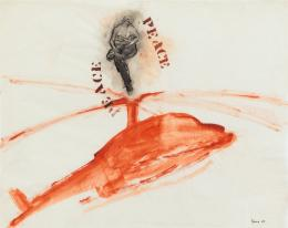 Nancy Spero: P.E.A.C.E., Helicopter, Mother + Children, 1968. Gouache und Tusche auf Papier, 48 x 61 cm; Courtesy Galerie Lelong & Co. © The Nancy Spero and Leon Golub Foundation for the Arts / VG Bild-Kunst, Bonn 2019; Foto Courtesy Galerie Lelong & Co.