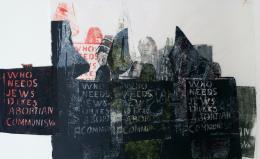 Nancy Spero: Who needs, 1990. Handdruck und Collage auf Papier, 55 x 80 cm; Barbara Gross Galerie, München. © The Nancy Spero and Leon Golub Foundation for the Arts / VG Bild-Kunst, Bonn 2019