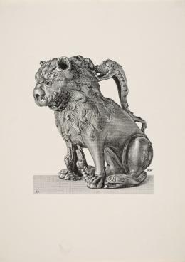 """Wilhelm Weimar (1857–1917) """"Aquamanile in Gestalt eines Löwen"""", um 1898 Druckvorstufe der Strichätzung, 15,3 x 21,3 cm Museum für Kunst und Gewerbe Hamburg"""