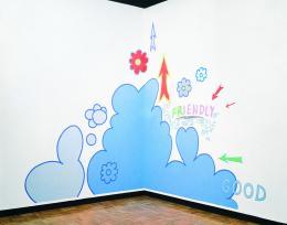 Lily van der Stokker, Friendly Good, 1992, Acrylfarbe auf Wand, Installationsansicht Grey Art Gallery, New York University, New York