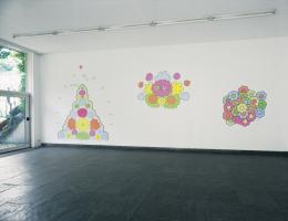 Lily van der Stokker, Good, Geluk, Bingo, 1991, Acrylfarbe auf Wand, 300 x 1100 cm, Installations- ansicht Museum Fodor, Amsterdam