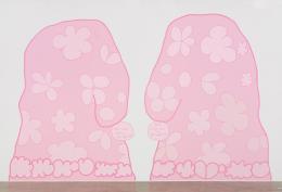 Lily van der Stokker, Nice Being Here, 2014, Acrylfarbe auf Wand, 388 x 612 cm, Installationsansicht Koenig & Clinton, New York, Foto: Jeffrey Sturges. Courtesy the artist and Air de Paris, Paris