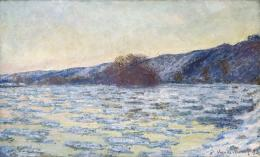 Claude Monet, Eisschollen im Dämmerlicht , 1893, 60 x 99,7 cm, Öl auf Leinwand, Museum Langmatt