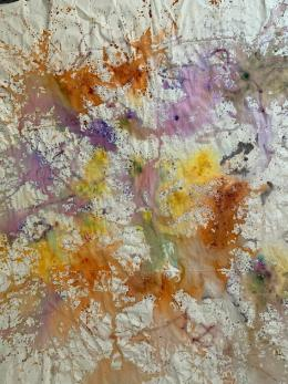 Cotton Candy, 2020, Medizinische Produkte auf Leinwand, 160 x 170 cm © Monika Kus-Picco