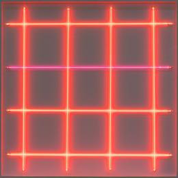 François Morellet 4 néons: 0° – 4 néons: 90° avec rythmes interférents , 1972 Leuchtstoffröhren, Elektrik, Holz 80 x 80 cm Privatsammlung, Bad Homburg Foto: Markus Wörgötter © VG Bild-Kunst, Bonn 2019
