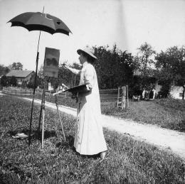 Unbekannt, Münter an der Staffelei im Freien malend, Kochel, 18. Juli 1902, Gabriele Münter- und Johannes Eichner-Stiftung, München