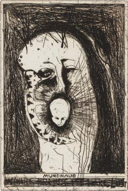 """Günter Brus, """"Mundraub"""", 1996-97,  Strichätzung auf Zink, Blatt: 53 x 38 cm, Druckplatte: 30 x 20 cm, Bruseum/Neue Galerie Graz, Universalmuseum Joanneum, Foto: Universalmuseum Joanneum/N. Lackner"""