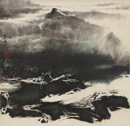 Liu Guosong (geb. 1932), Snow, datiert 1967, Hängerolle, Tusche und Farben auf Papier, Geschenk Charles A. Drenowatz, Museum Rietberg