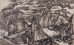 Gong Xian (1619–1689), Tausend Gipfel und zehntausend Täler, Qing-Dynastie, um 1670, Hängerolle, Tusche auf Papier, 62 × 102 cm, Geschenk Charles A. Drenowatz, © Museum Rietberg, Foto: Rainer Wolfsberger