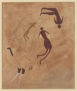 Drei menschliche Figuren, Ägypten, Gilf el-Kebir, Wadi Sura, 1933, Elisabeth Charlotte Pauli, Aquarell auf Papier, 34 × 35 cm © Frobenius-Institut