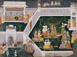 Ramas Hochzeit mit Sita, Folio aus einer Ramayana-Serie, unbekannter Künstler in Lakhnau, Indien, Uttar Pradesh, um 1775, Sammlung Alice Boner, Museum Rietberg