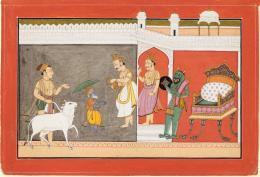 Vamana Avatara, Folio aus einer Dasavatara-Serie, Mahesh von Chamba, zugeschrieben, Indien, Pahari-Gebiet, 1725–1750, Sammlung Alice Boner, Museum Rietberg
