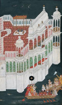 Maharana Jagat Singh II lässt sich zu seinem Inselpalast im Pichola-See rudern, unbekannter Künstler am Hofe Maharana Sangram Singh II in Udaipur, Indien, Rajasthan, Mewar, um 1750, Ankauf mit Mitteln von Balthasar und Nanni Reinhart, Museum Rietberg