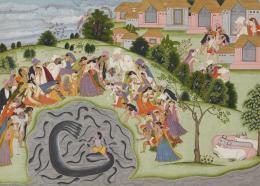 """Krishna unterwirft den Schlangenkönig Kalya, Folio aus der """"Chandigarh-Harivamsha""""-Serie, Purkhu von Kangra, Indien, Pahari-Gebiet, 1800–1825, Geschenk H. und J. Tobler, B. und E. Fischer, Museum Rietberg"""