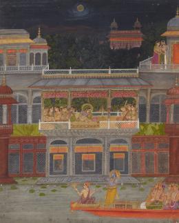 Krishna bewundert Radha auf einer Palast-Terrasse, Bahavani Das in Kishangarh, zugeschrieben, Indien, Rajasthan, 1730–1735, Geschenk Sammlung Horst Metzger, Museum Rietberg