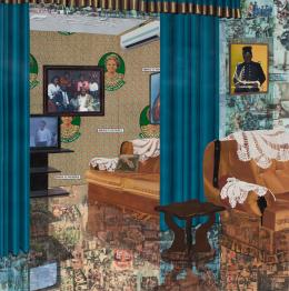 Njideka Akunyili Crosby, Home: As You See Me, 2017. Acrylic, transfers, colored pencil, charcoal, collage and commemorative fabric on paper, 213.36 x 211.46 cm; © Njideka Akunyili Crosby. Courtesy the artist and Victoria Miro, London/Venice