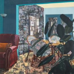 Njideka Akunyili Crosby, Home: Say It Loud, 2017. Acrylic, transfers, colored pencil, charcoal and collage on paper, 213.36 x 211.46 cm; © Njideka Akunyili Crosby. Courtesy the artist and Victoria Miro, London/Venice