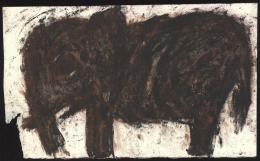 Michel Nedjar, Ohne Titel | Paris Belleville, 1991, Mischtechnik auf Büttenpapier, 40,4 x 67,1 cm, Courtesy Galerie Gugging