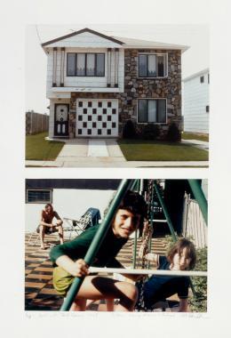 Dan Graham, House with Greek Columns... / Family at Leisure, 1978; 1969 2 Farbfotografien, 88 x 63,6 cm Kunsthaus Zürich, 1996, © Dan Graham