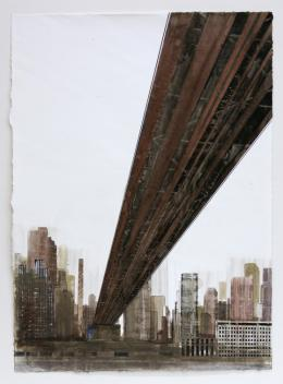 Gottfried Salzmann - New York, Queensboro Bridge I - 2018, Aquarell auf Papier, 73,8 x 54,3 cm © Galerie Welz