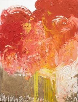 Hermann Nitsch, ohne Titel, 2019, Acryl auf Jute, 200×150 cm, courtesy Bechter Kastowsky Galerie und der Künstler