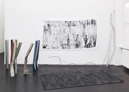 Nora Schultz, Stative auf der Flucht / The Tripod's escape, Installationsansicht Galerie Isabella Bortolozzi, Berlin, 2013