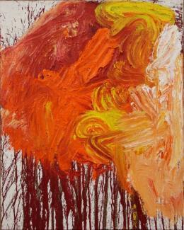 Hermann Nitsch, Schüttbild, 2019, Acryl auf Jute, 100×80 cm, courtesy Bechter Kastowsky Galerie und der Künstler