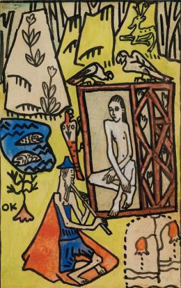 Oskar Kokoschka, Entwurf zu einer Wiener Werkstätten-Postkarte, 1908, Sammlung Ploil © Fondation Oskar Kokoschka/ Bildrecht, Wien, 2020, Foto: Christoph Fuchs