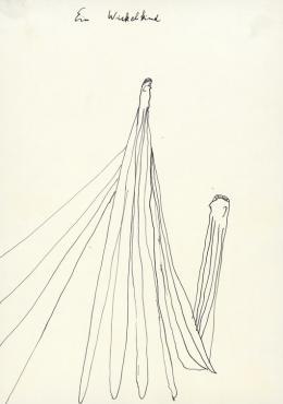 Oswald Tschirtner, Ein Wickelkind/A young infant, undatiert/ undated, Tusche/Indian ink, 21 x 14,8 cm © Privatstiftung –Künstler ausGugging