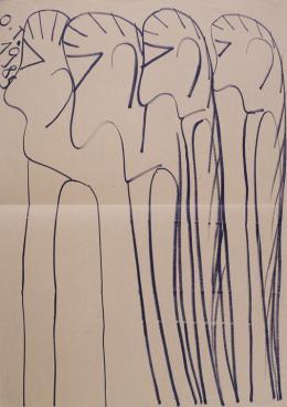 Oswald Tschirtner, Menschen/Humans, 1985, Edding auf Packpapier/Sharpie marker on packing paper, 125,9 x 89,8cm© Privatstiftung –Künstler aus Gugging