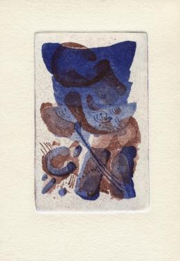 """Werner Otte, """"Abstrakte Komposition"""", 1984, Ätzradierung auf Papier, 14,6 x 10,3 cm © Besitz: Salzburg Museum"""