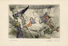 """Werner Otte, """"Fliegende Formen"""", 1993, Radierung koloriert, 9,8 x 15 cm © Besitz: Salzburg Museum"""